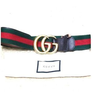Double G Gucci Belt Striped